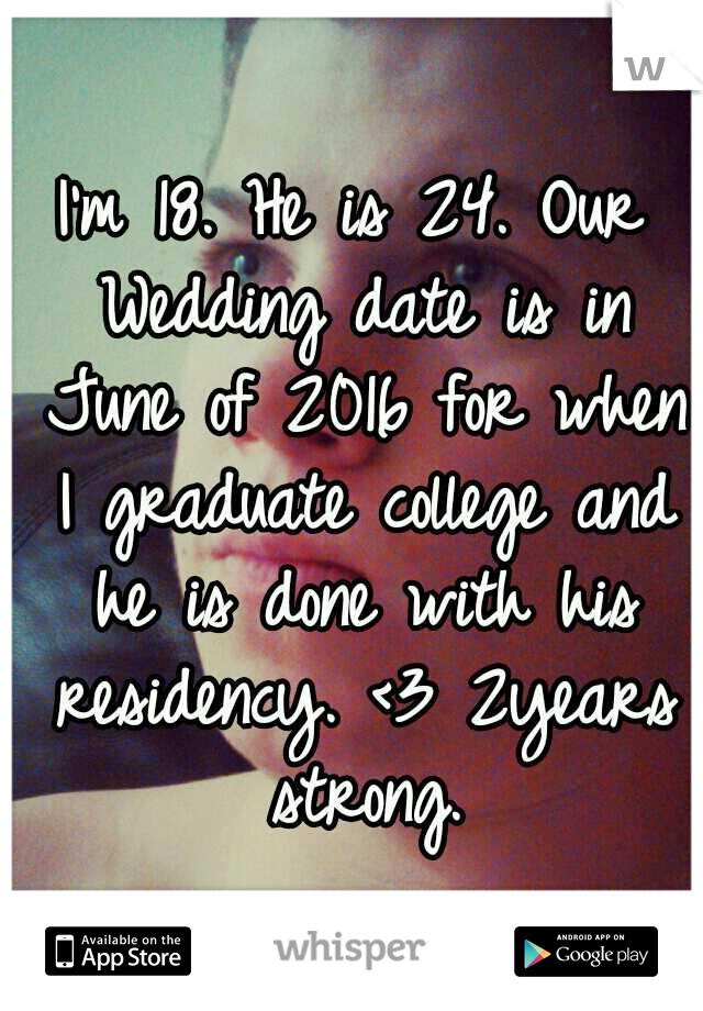 I'm 18. He is 24. Our Wedding date is in June of 2016 for when I graduate college and he is done with his residency. <3 2years strong.