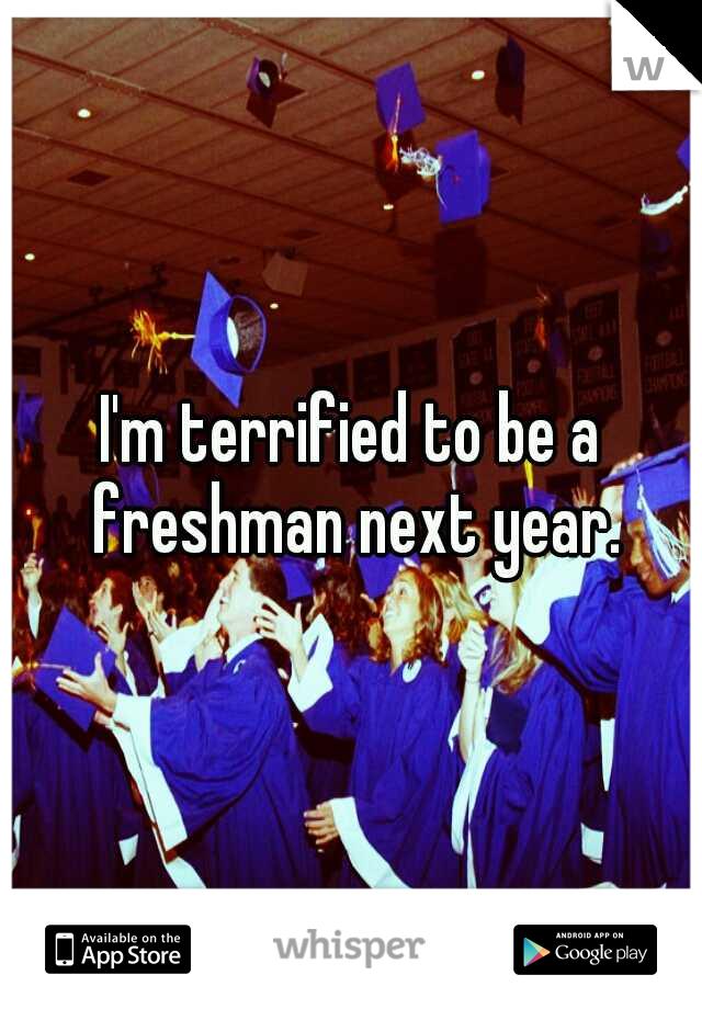 I'm terrified to be a freshman next year.