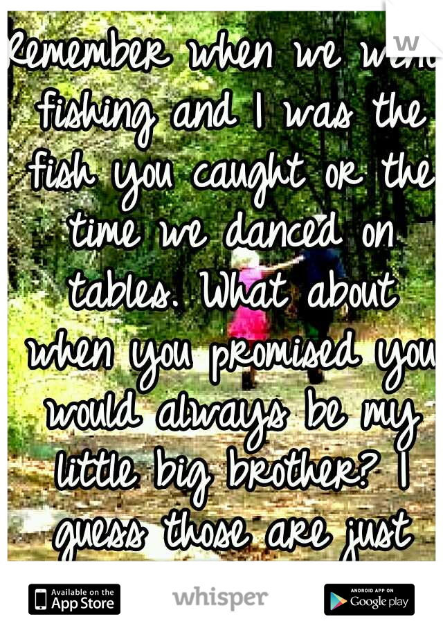 Remember when we went fishing and I was the fish you caught or the time we danced on tables. What about when you promised you would always be my little big brother? I guess those are just memories now
