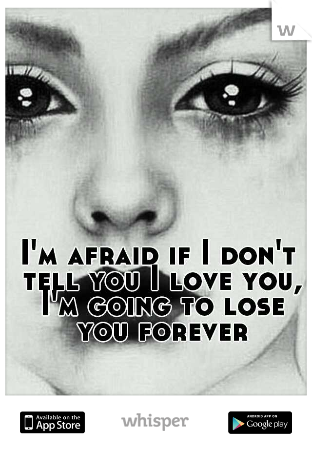 I'm afraid if I don't tell you I love you, I'm going to lose you forever