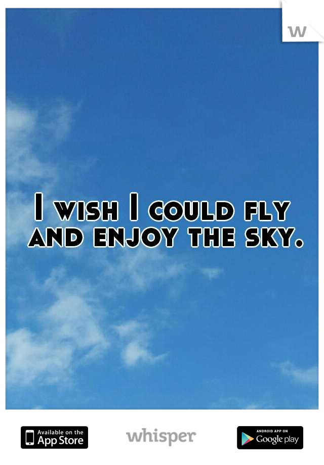 I wish I could fly and enjoy the sky.