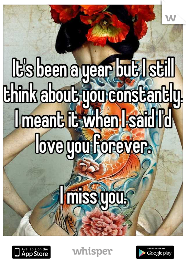 It's been a year but I still think about you constantly. I meant it when I said I'd love you forever.  I miss you.