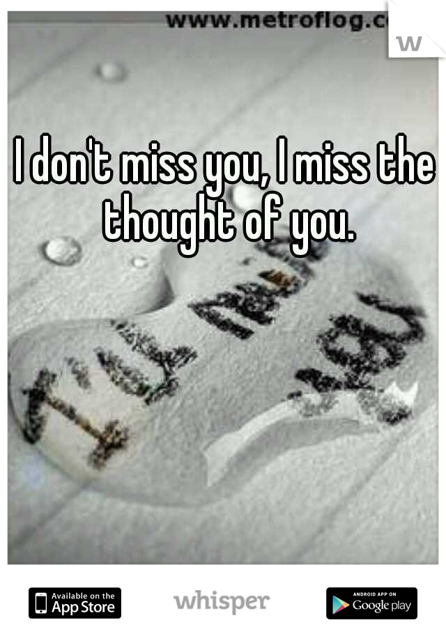 I don't miss you, I miss the thought of you.