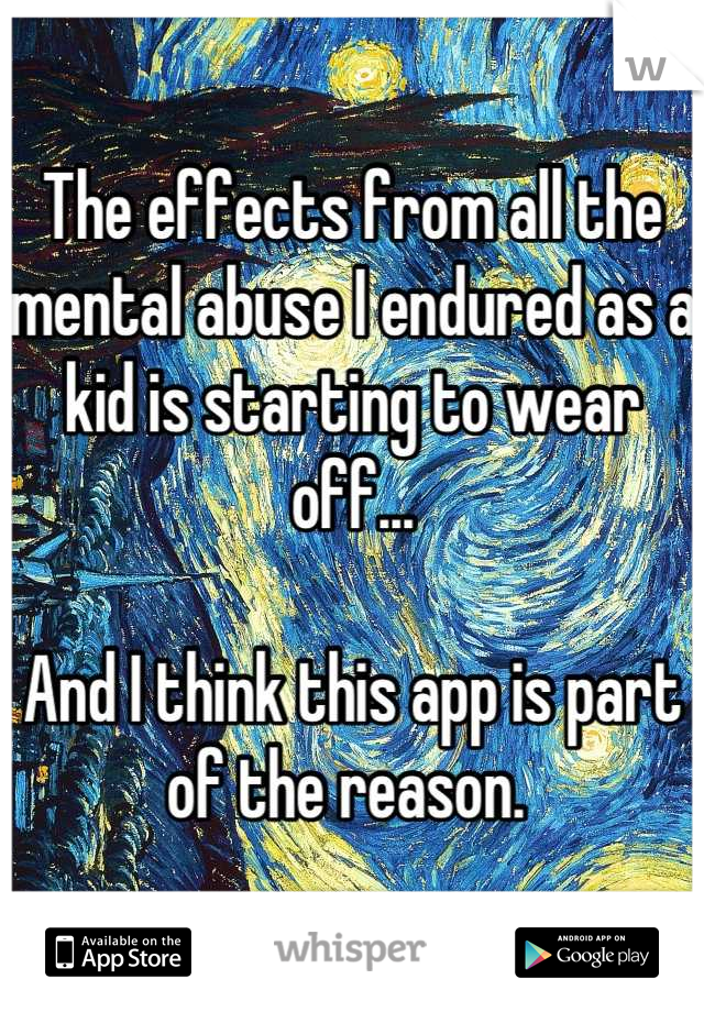 The effects from all the mental abuse I endured as a kid is starting to wear off...  And I think this app is part of the reason.