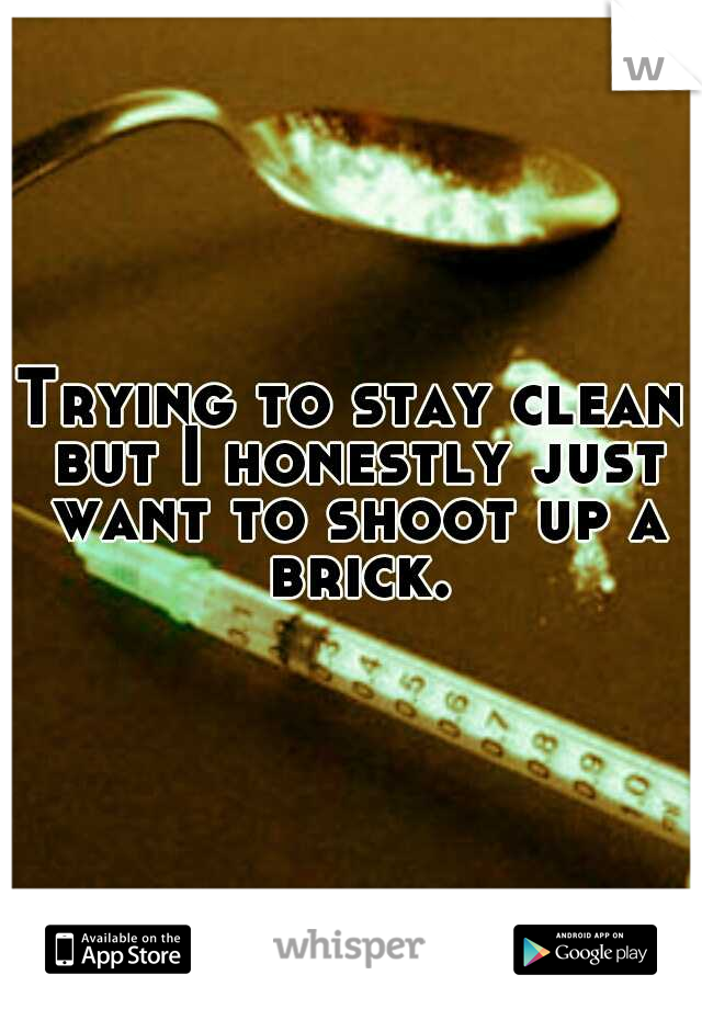 Trying to stay clean but I honestly just want to shoot up a brick.