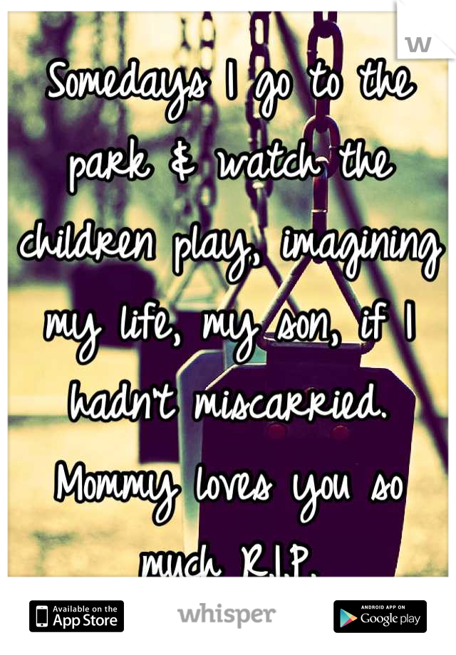 Somedays I go to the park & watch the children play, imagining my life, my son, if I hadn't miscarried. Mommy loves you so much R.I.P.