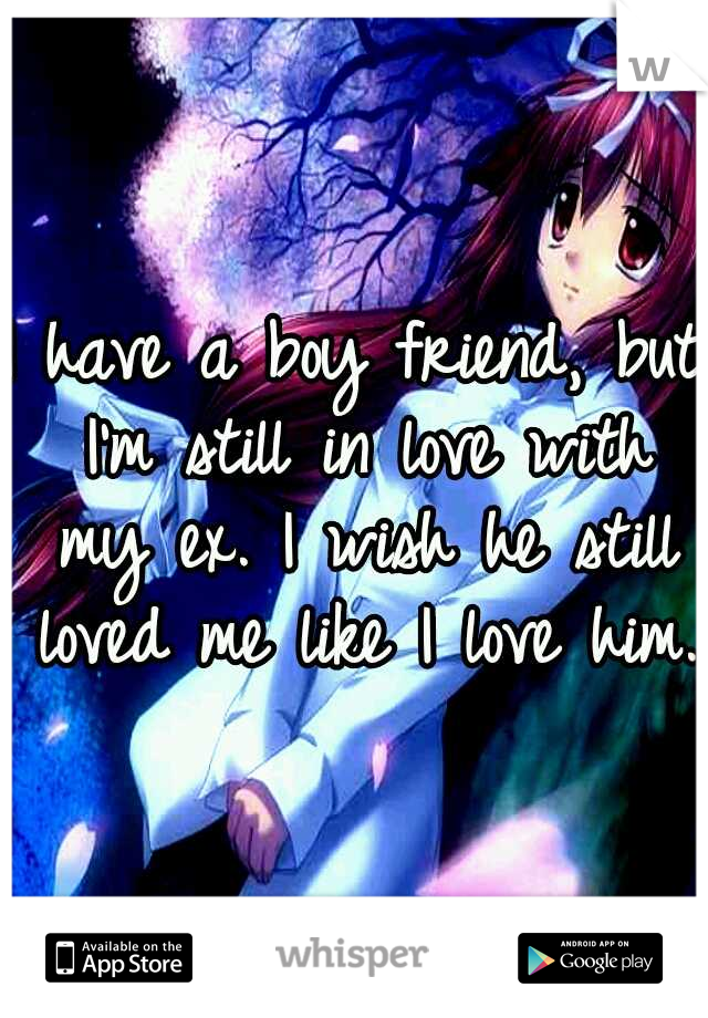 I have a boy friend, but I'm still in love with my ex. I wish he still loved me like I love him.