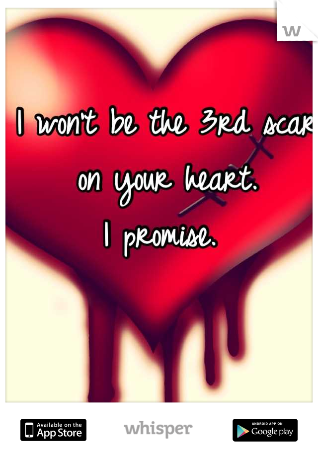 I won't be the 3rd scar on your heart.  I promise.