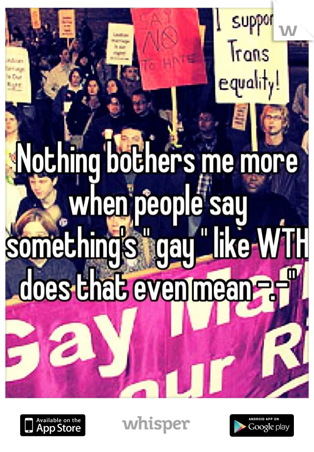 """Nothing bothers me more when people say something's """" gay """" like WTH does that even mean -.-"""""""