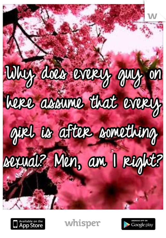 Why does every guy on here assume that every girl is after something sexual? Men, am I right?
