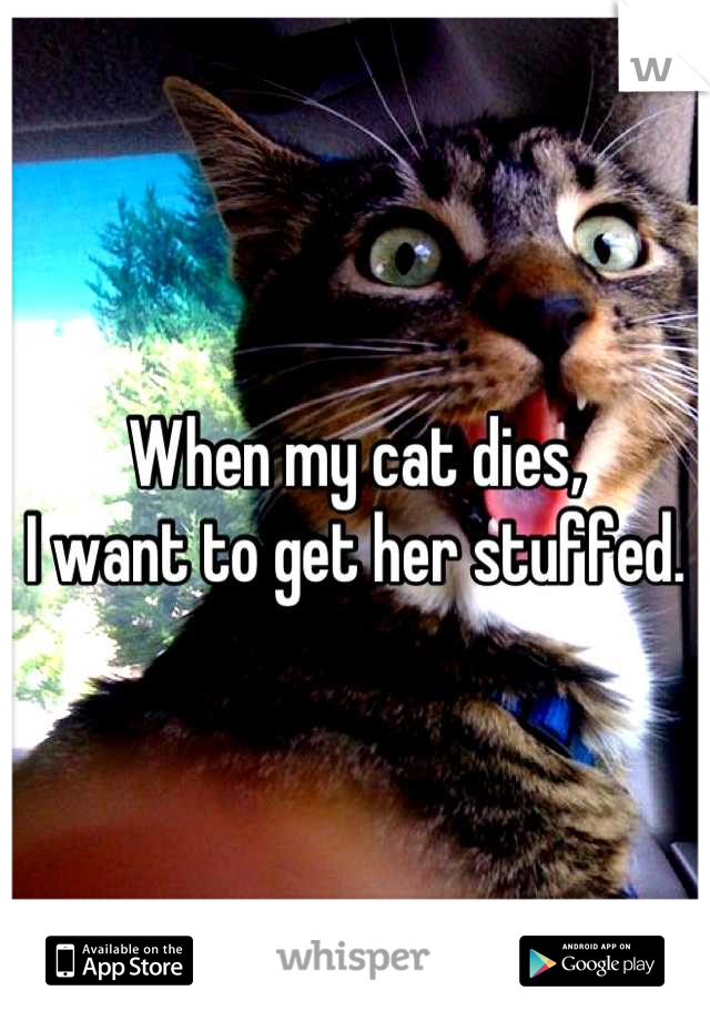 When my cat dies, I want to get her stuffed.