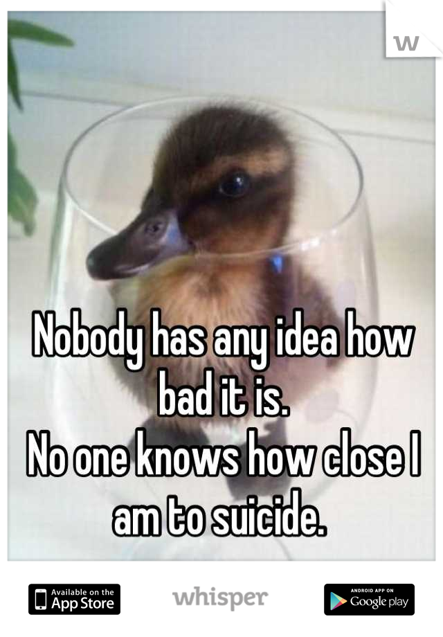 Nobody has any idea how bad it is.  No one knows how close I am to suicide.