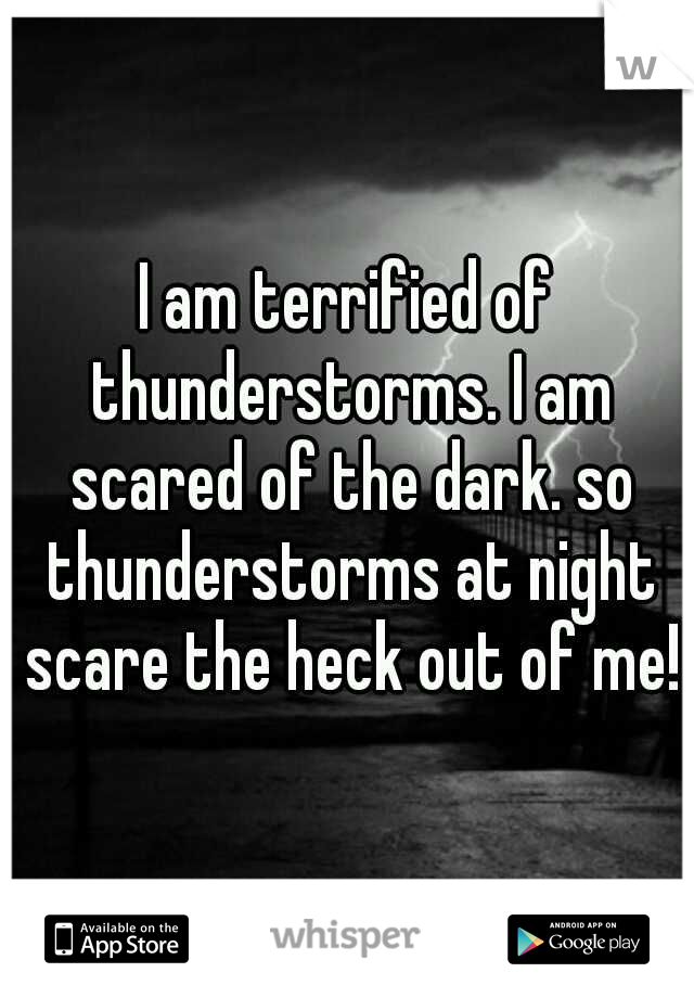 I am terrified of thunderstorms. I am scared of the dark. so thunderstorms at night scare the heck out of me!