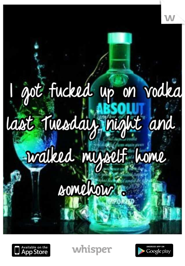 I got fucked up on vodka last Tuesday night and I walked myself home somehow .