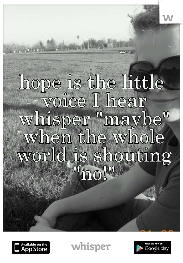 "hope is the little voice I hear whisper ""maybe"" when the whole world is shouting ""no!"""