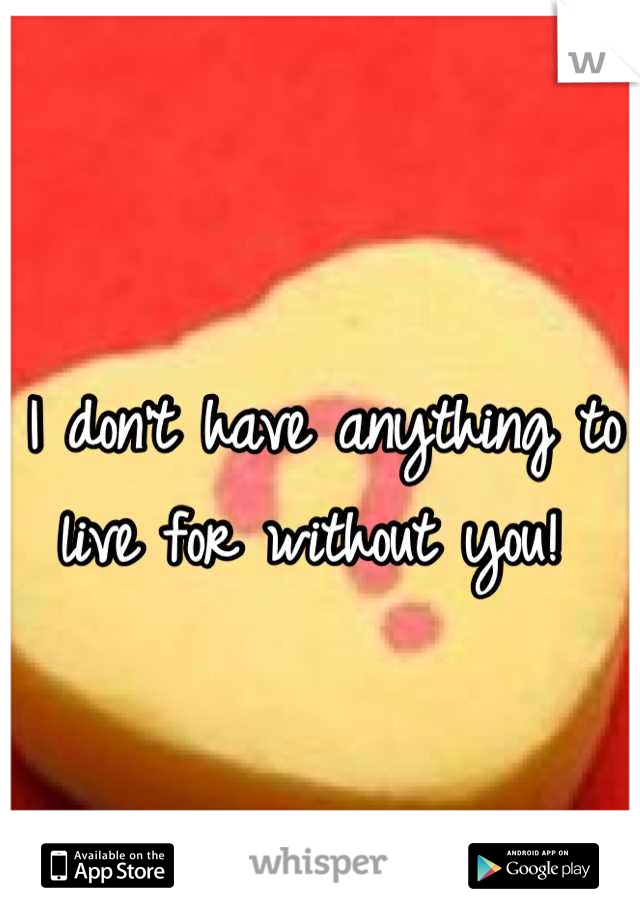I don't have anything to live for without you!