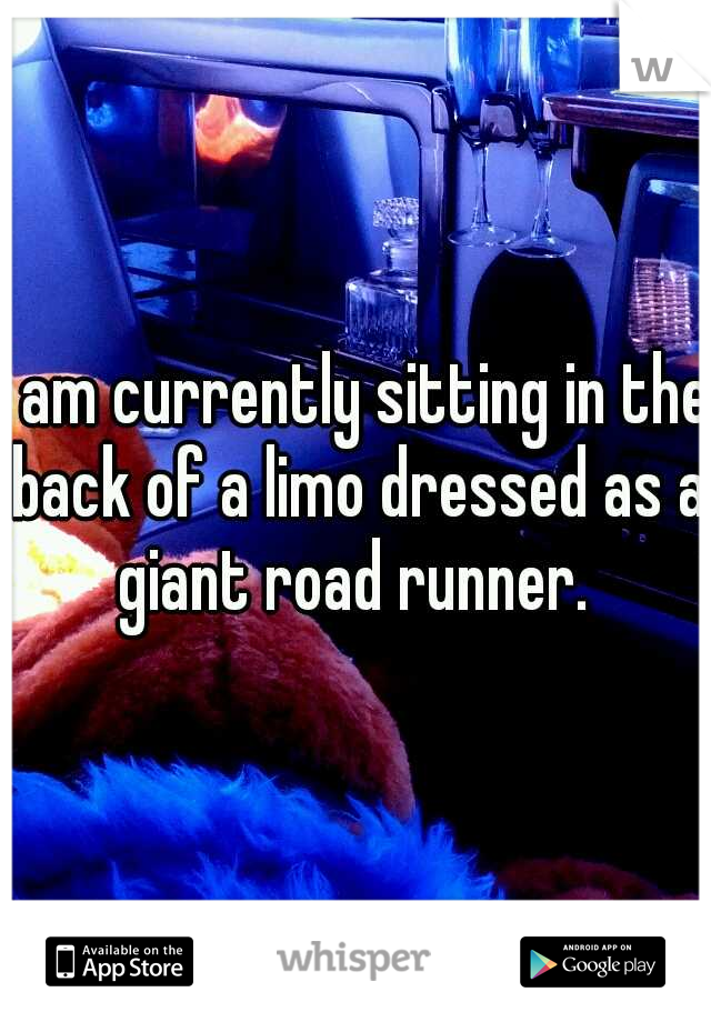 I am currently sitting in the back of a limo dressed as a giant road runner.