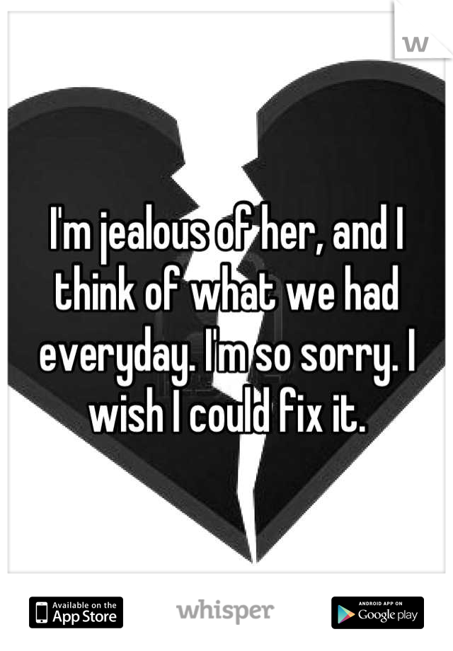 I'm jealous of her, and I think of what we had everyday. I'm so sorry. I wish I could fix it.