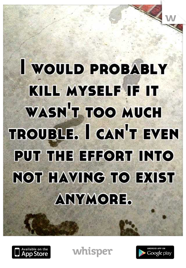 I would probably kill myself if it wasn't too much trouble. I can't even put the effort into not having to exist anymore.