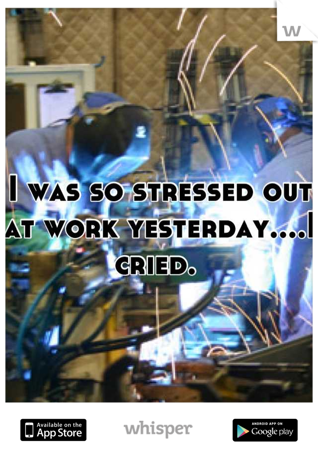 I was so stressed out at work yesterday....I cried.
