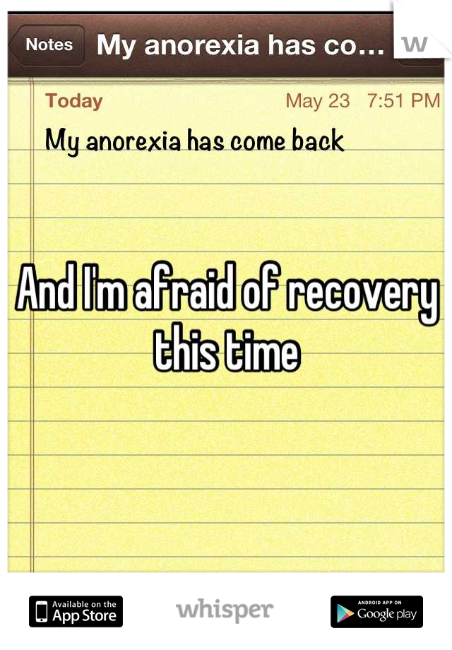 And I'm afraid of recovery this time