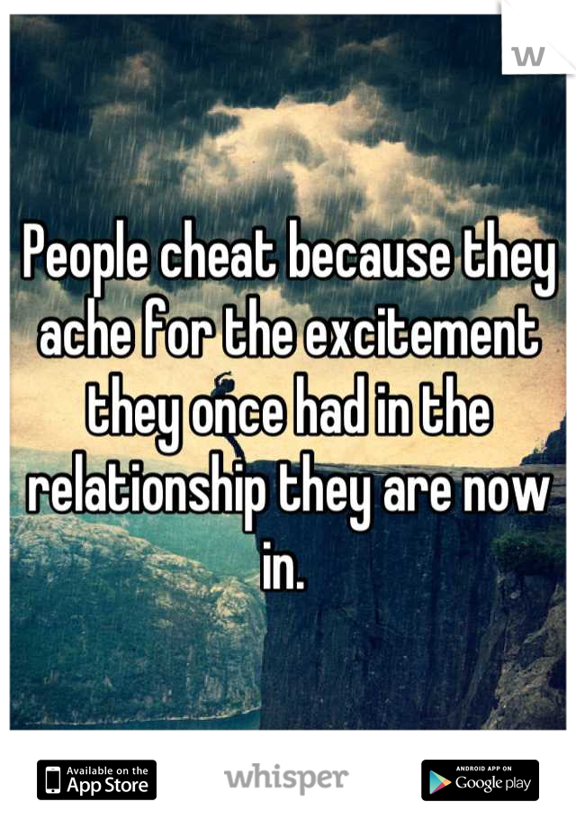 People cheat because they ache for the excitement they once had in the relationship they are now in.