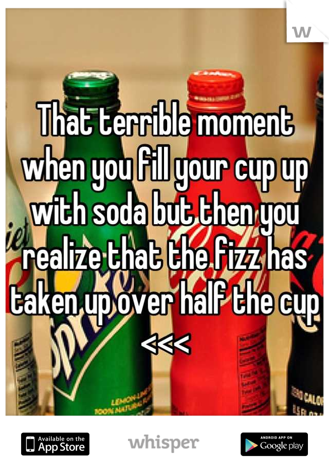That terrible moment when you fill your cup up with soda but then you realize that the fizz has taken up over half the cup <<<