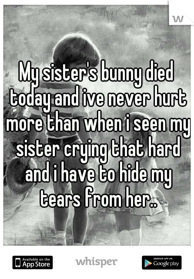 My sister's bunny died today and ive never hurt more than when i seen my sister crying that hard and i have to hide my tears from her..
