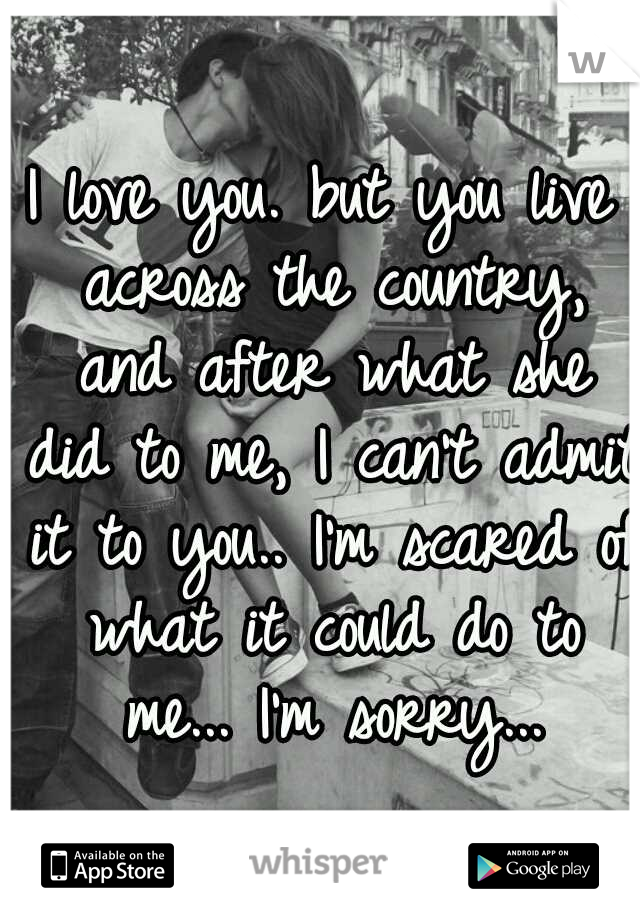 I love you. but you live across the country, and after what she did to me, I can't admit it to you.. I'm scared of what it could do to me... I'm sorry...