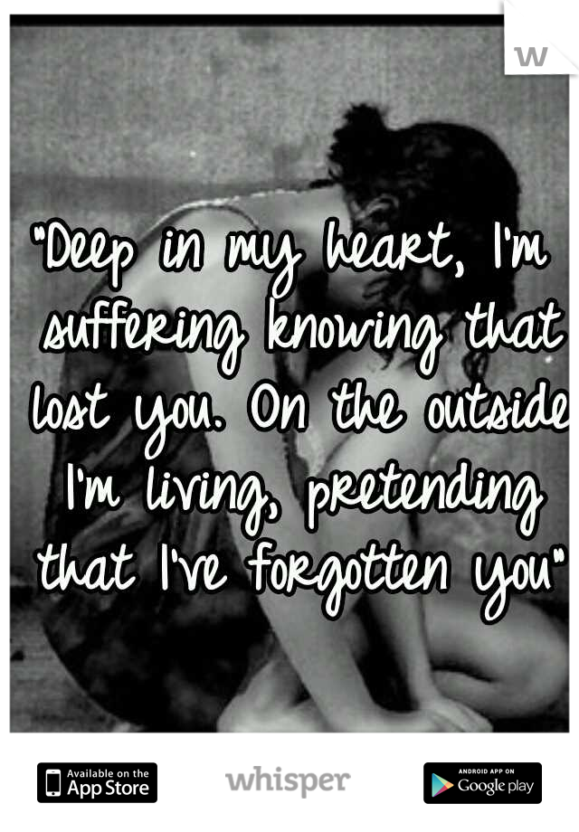 """""""Deep in my heart, I'm suffering knowing that lost you. On the outside I'm living, pretending that I've forgotten you"""""""