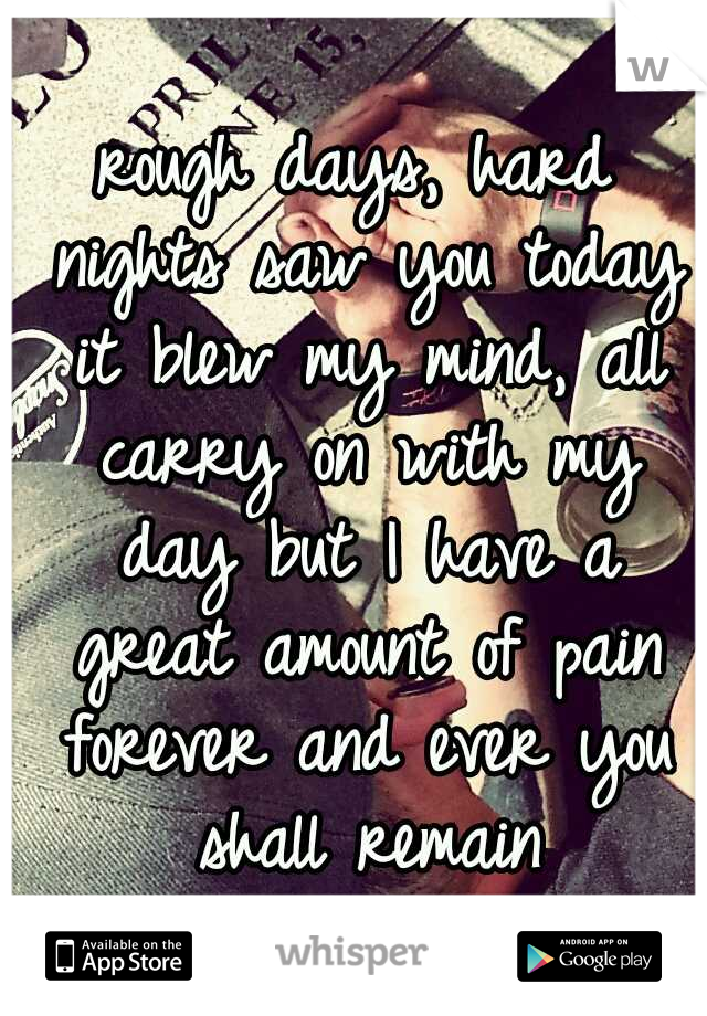 rough days, hard nights saw you today it blew my mind, all carry on with my day but I have a great amount of pain forever and ever you shall remain