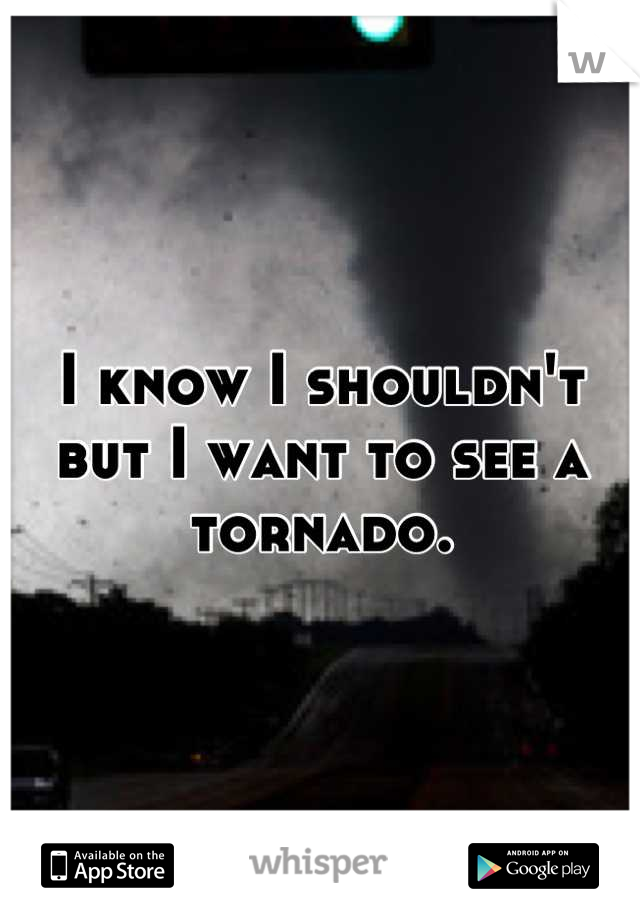 I know I shouldn't but I want to see a tornado.