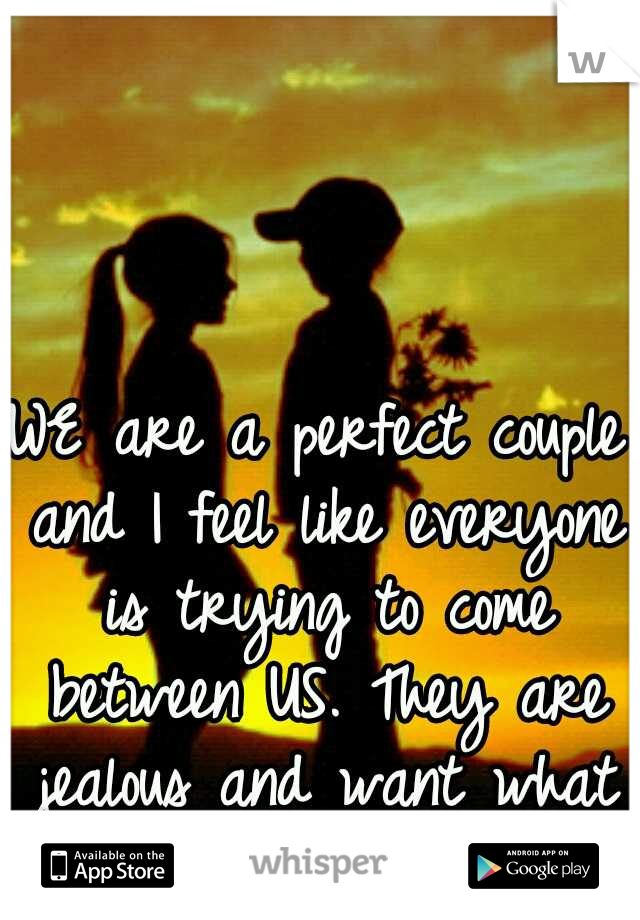 WE are a perfect couple and I feel like everyone is trying to come between US. They are jealous and want what WE have!!