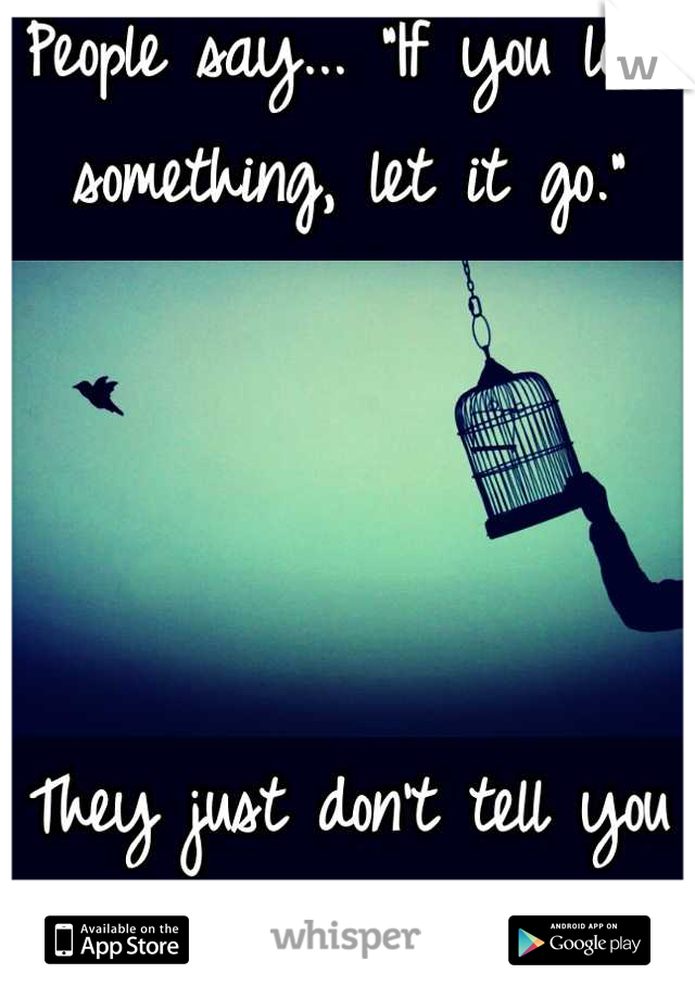 """People say... """"If you love something, let it go.""""     They just don't tell you how much it hurts."""
