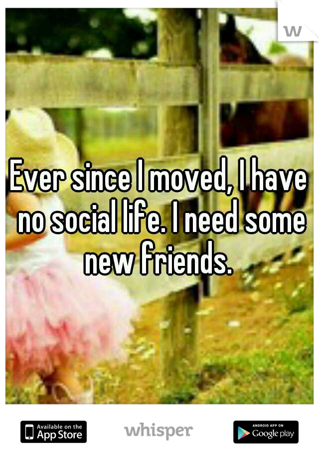 Ever since I moved, I have no social life. I need some new friends.