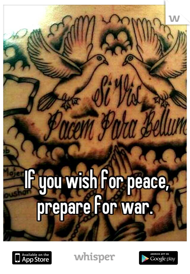 If you wish for peace, prepare for war.