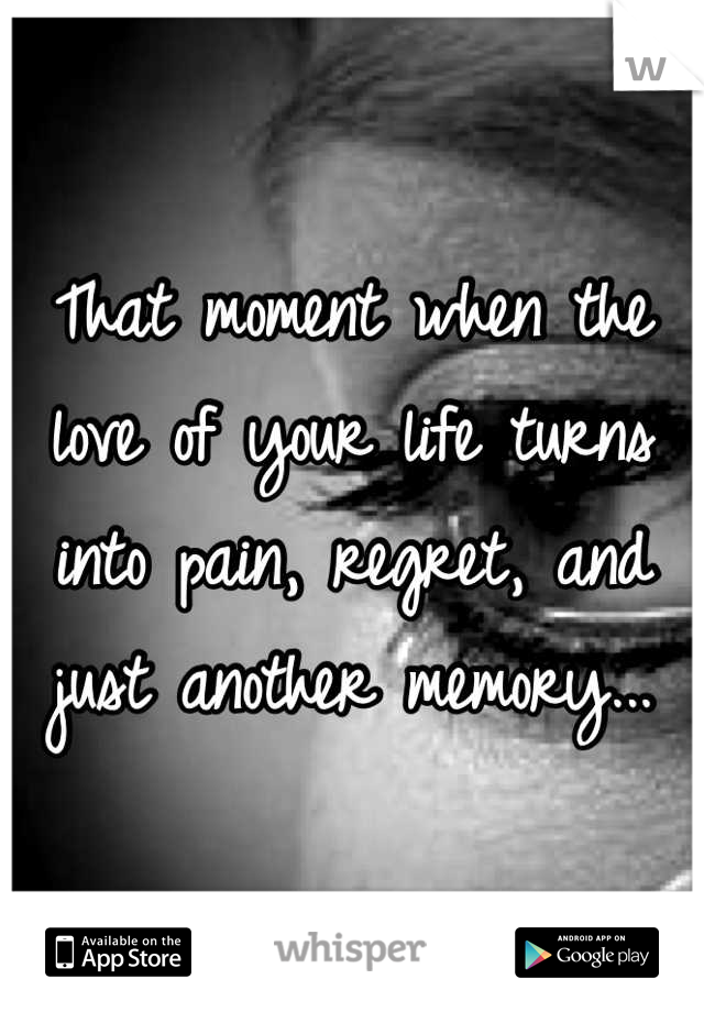 That moment when the love of your life turns into pain, regret, and just another memory...