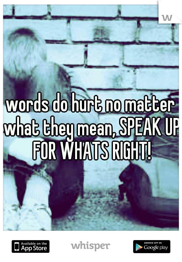words do hurt no matter what they mean, SPEAK UP FOR WHATS RIGHT!