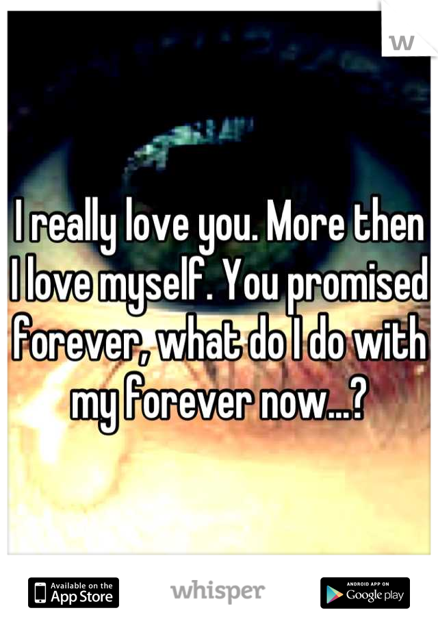 I really love you. More then I love myself. You promised forever, what do I do with my forever now...?