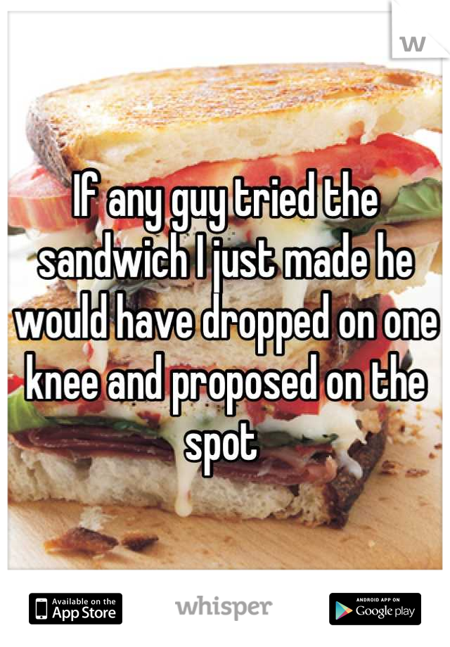 If any guy tried the sandwich I just made he would have dropped on one knee and proposed on the spot