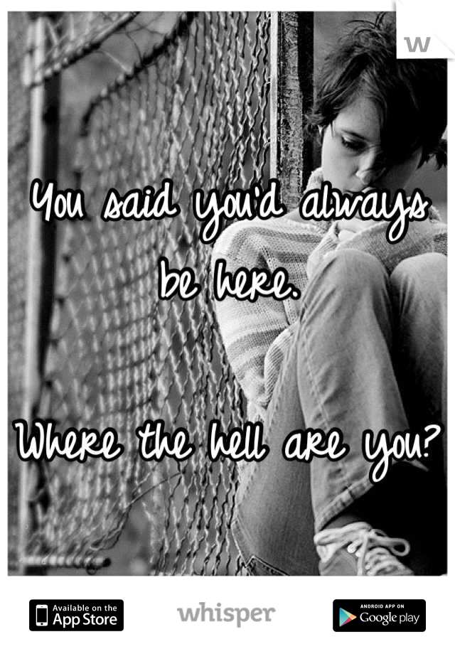 You said you'd always be here.   Where the hell are you?