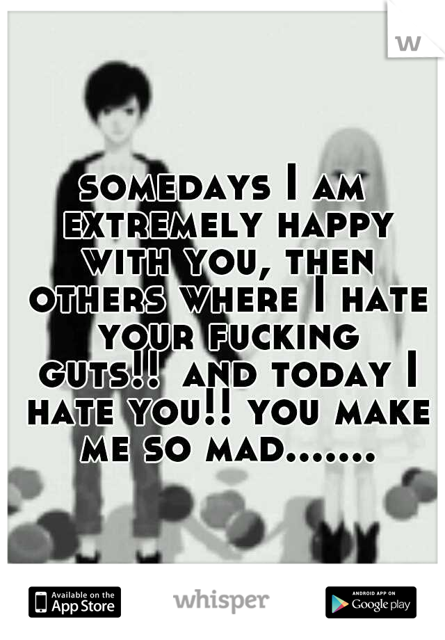 somedays I am extremely happy with you, then others where I hate your fucking guts!! and today I hate you!! you make me so mad.......