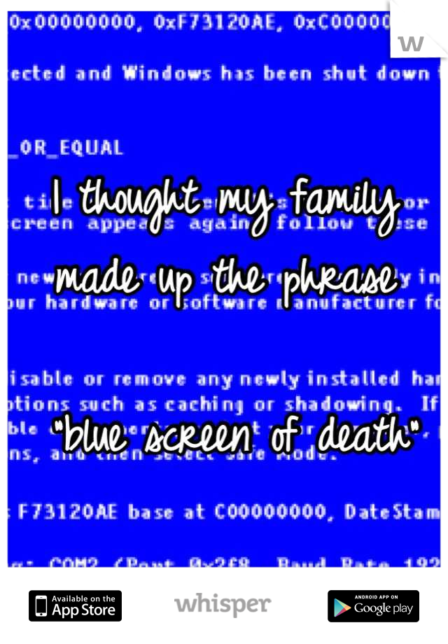 """I thought my family made up the phrase   """"blue screen of death"""""""