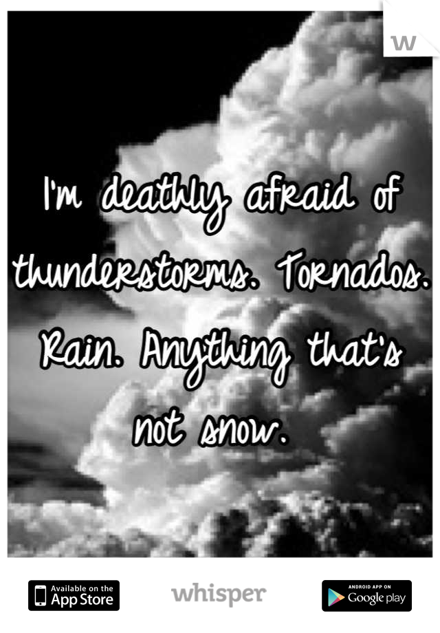 I'm deathly afraid of thunderstorms. Tornados. Rain. Anything that's not snow.