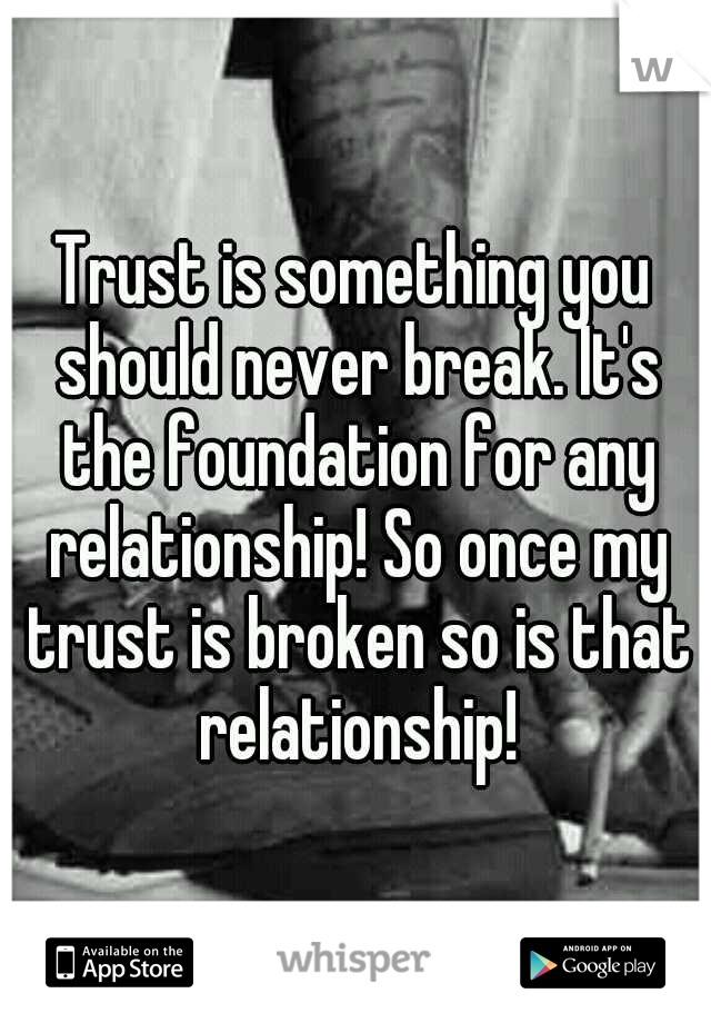 Trust is something you should never break. It's the foundation for any relationship! So once my trust is broken so is that relationship!