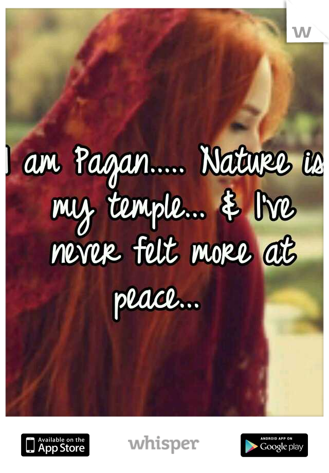 I am Pagan..... Nature is my temple... & I've never felt more at peace...