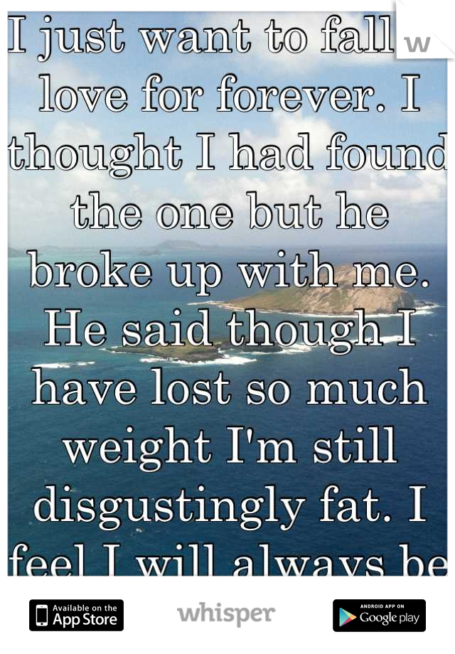 I just want to fall in love for forever. I thought I had found the one but he broke up with me. He said though I have lost so much weight I'm still disgustingly fat. I feel I will always be alone.