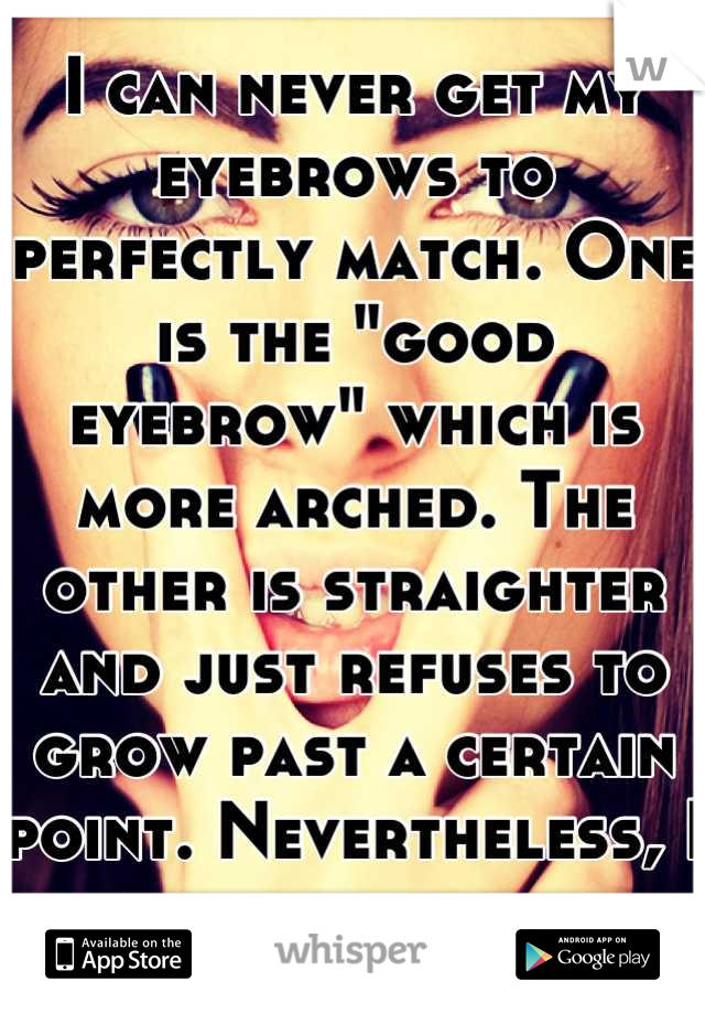 """I can never get my eyebrows to perfectly match. One is the """"good eyebrow"""" which is more arched. The other is straighter and just refuses to grow past a certain point. Nevertheless, I still love them."""