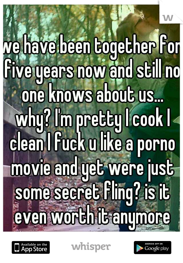 we have been together for five years now and still no one knows about us... why? I'm pretty I cook I clean I fuck u like a porno movie and yet were just some secret fling? is it even worth it anymore