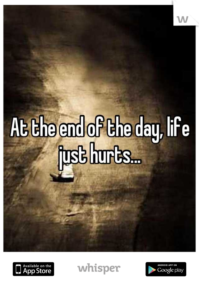 At the end of the day, life just hurts...